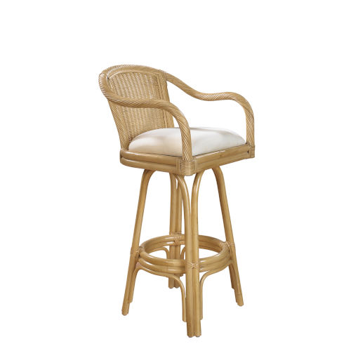 Key West Indoor Swivel Rattan and Wicker 30-Inch Barstool in Natural Finish