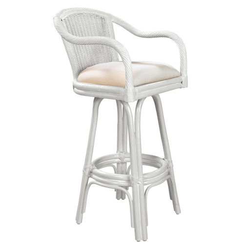 Key West Patriot Birch Indoor Swivel Rattan and Wicker 30-Inch Barstool in Whitewash Finish