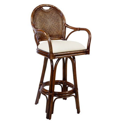 Classic York Peacock Swivel Rattan and Wicker 30-Inch Barstool