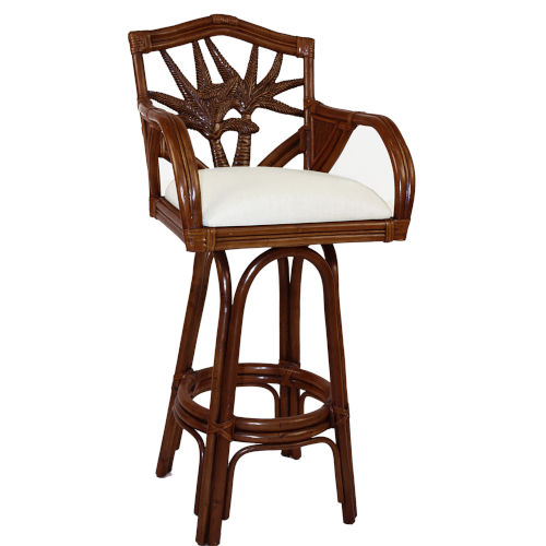 Cancun Palm York Dove Swivel Rattan and Wicker 24-Inch Counter stool