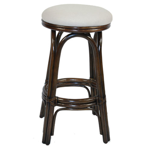 Polynesian Boca Grande Indoor Swivel Rattan and Wicker 24-Inch Counter stool in Antique Finish