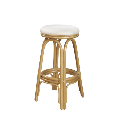 Polynesian Rave Lemon Indoor Swivel Rattan and Wicker 30-Inch Barstool in Natural Finish