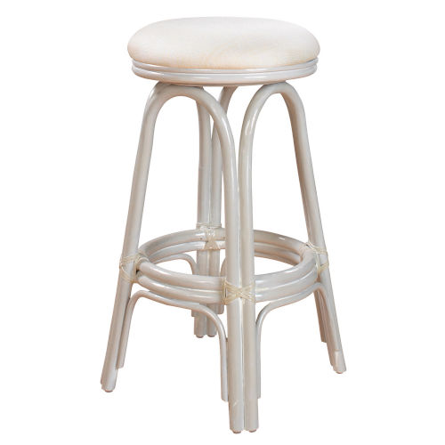 Polynesian York Bluebell Indoor Swivel Rattan and Wicker 24-Inch Counter stool in Whitewash Finish