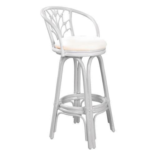 Valencia York Bluebell Indoor Swivel Rattan and Wicker 30-Inch Barstool in Whitewash Finish