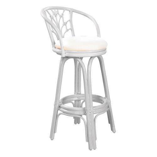 Valencia Patriot Birch Indoor Swivel Rattan and Wicker 24-Inch Counter stool in Whitewash Finish
