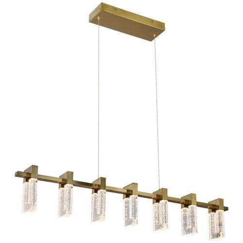 Sorrento Antique Brass Seven-Light Adjustable LED Linear Chandelier