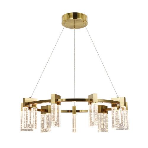 Sorrento Antique Brass Nine-Light Adjustable LED Chandelier