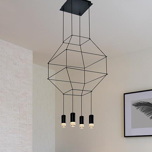 Expression Black Four-Light LED Pendant