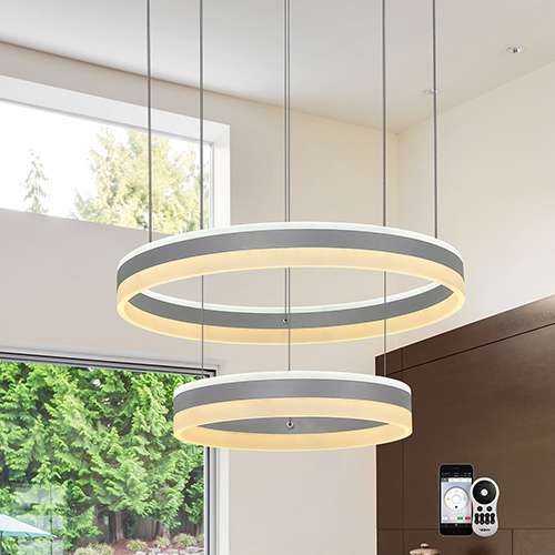 Europa Silver Two-Light LED Chandelier