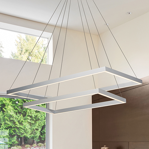 Atria Duo Silver LED Adjustable Chandelier