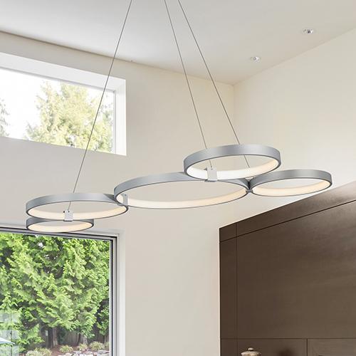 Capella Silver 31-Inch LED Adjustable Chandelier
