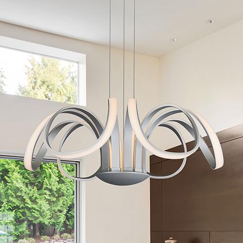 Capella Silver 30-Inch LED Adjustable Chandelier