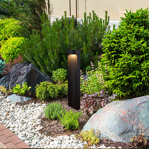 Matt Black and Clear Glass 24-Inch 5Watt 12V LED Outdoor Bollards