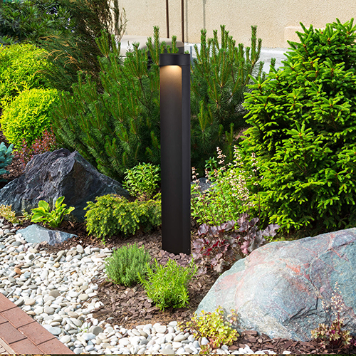 Matt Black and Clear Glass 32-Inch 5Watt 12V LED Outdoor Bollards