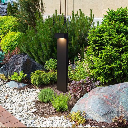 Matt Black and Clear Glass 24-Inch 12V LED Outdoor Bollards