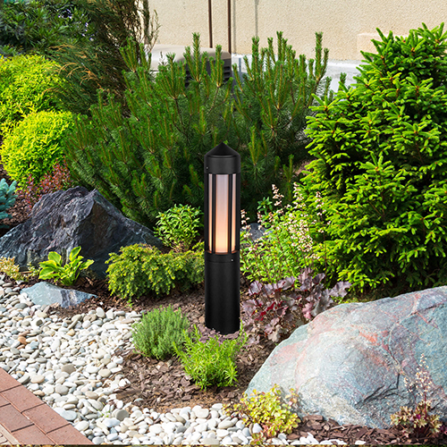Matt Black 24-Inch 12V LED Outdoor Bollards
