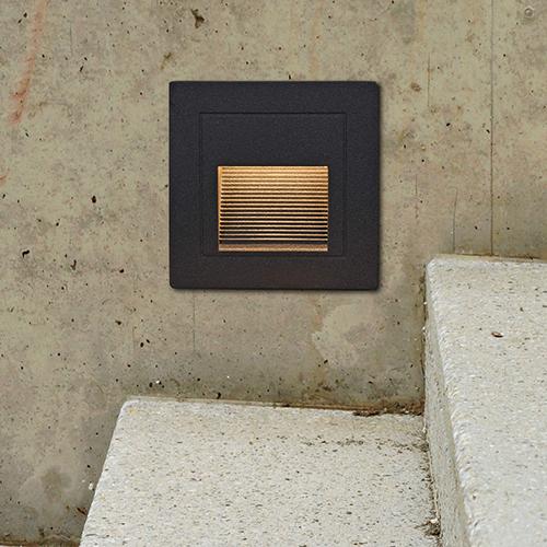 Matt Black Three-Inch 12V LED Outdoor Step Light