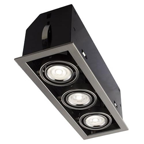 Cube Brushed Chrome Three-Light LED Recessed Lighting Kit