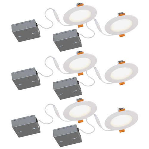 JIB Matte White Integrated LED Recessed Fixture Kit, Pack of 6