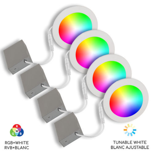 White Wi-Fi RGB LED Recessed Fixture Kit, Pack of 4
