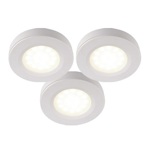 White LED Under Cabinet Puck Light, Set of Three