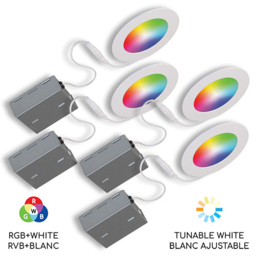 Matte White Wi-Fi RGB LED Recessed Fixture Kit, Pack of 4