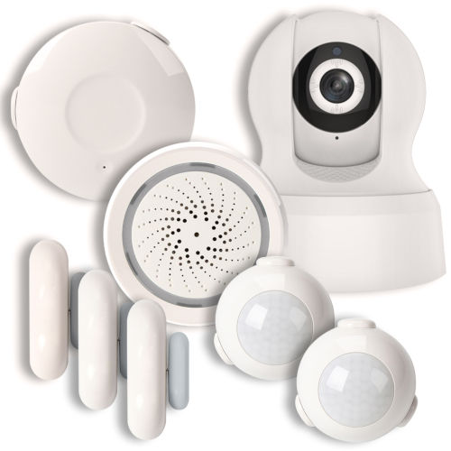 White Smart Wi-Fi Household Alarm Kit with 720p Camera