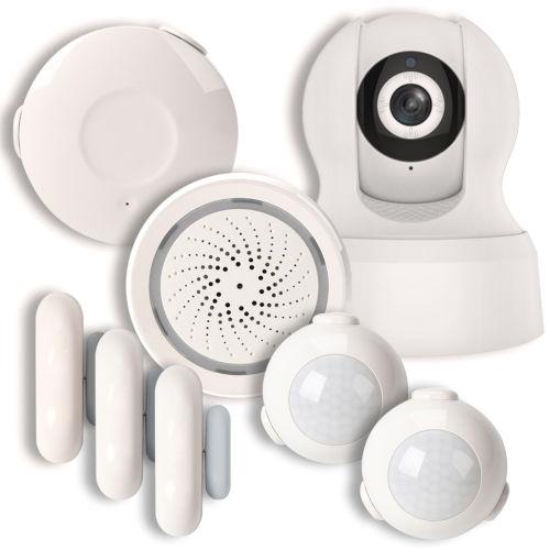 White Smart Wi-Fi Household Alarm Kit with 720p Camera