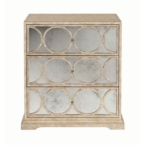 Interiors Sand Maple Veneers and Mirrored Glass Nightstand