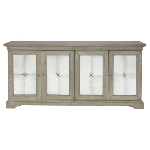 Marquesa Gray Cashmere White Oak Veneers and Mirrored Glass Buffet