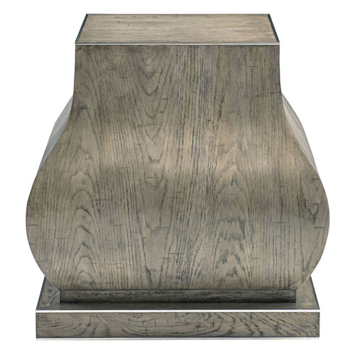 Interiors Rustic Gray White Oak Veneers and Stainless Steel End Table