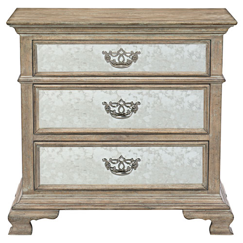 Campania Weathered Sand White Oak Veneers and Mirrored Glass Bachelor Chest
