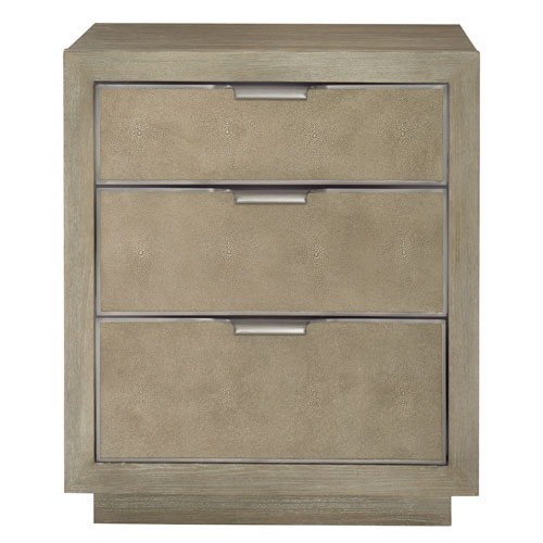Mosaic Dark Taupe Ash Solids, White Oak Veneers and Shagreen Nightstand