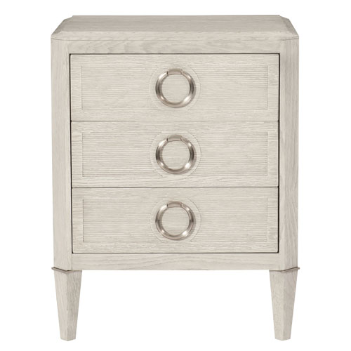 Domaine Blanc Dove White  Oak Solids, White Oak Veneers and Metal 25-Inch Nightstand