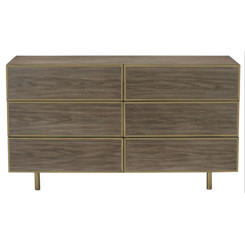 Profile Warm Taupe Walnut Veneers and Metal Dresser