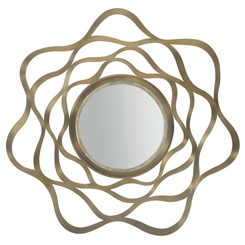 Profile Tapestry Gold Stainless Steel and Mirrored Glass 44-Inch Mirror