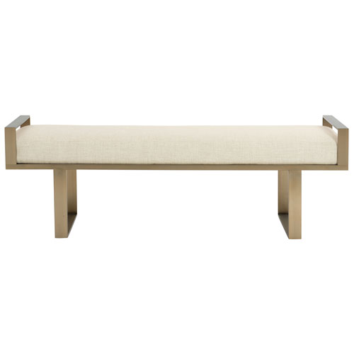 Profile Tapestry Gold Stainless Steel and Fabric Bench