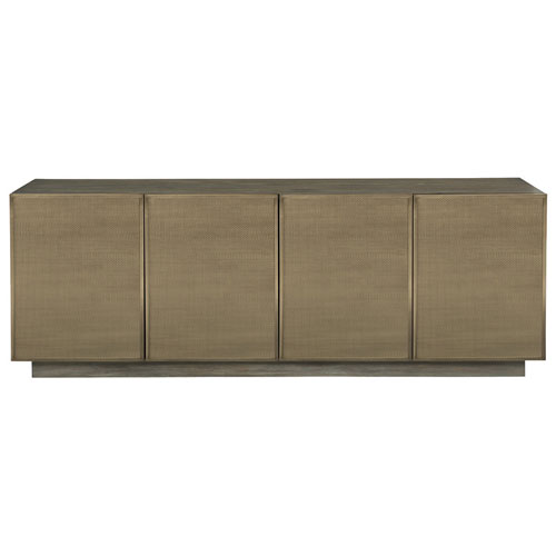 Profile Tapestry Gold Walnut Veneers and Stainless Steel Entertainment Console