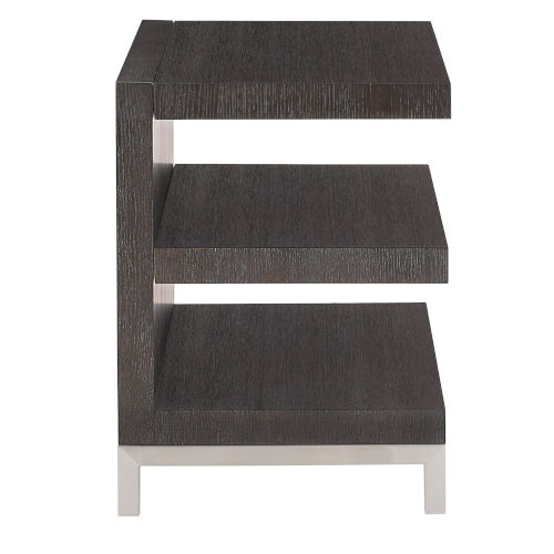 Decorage Cerused Mink End Table with Fixed Shelf