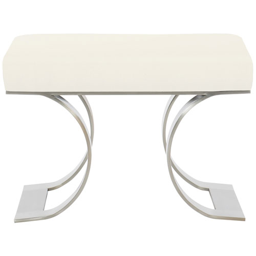Axiom Brushed Silver Solid Stainless Steel and Fabric Bench