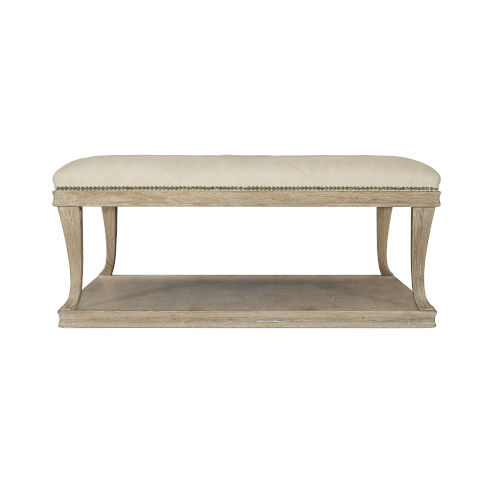 Rustic Patina Sand Upholstered Cocktail Table