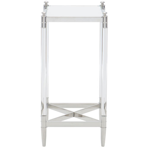 Freestanding Occasional Silver and Clear 12-Inch End Table