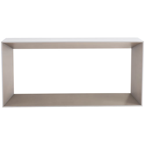 Freestanding Occasional Chalky White and Champagne Metallic Maple Veneers Console Table