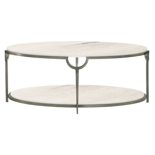 Freestanding Occasional Oxidized Nickel and Carrara Marble 46-Inch Cocktail Table