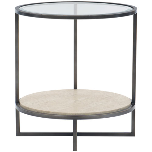 Freestanding Occasional Bronze, White Travertine Stone and Clear 24-Inch End Table