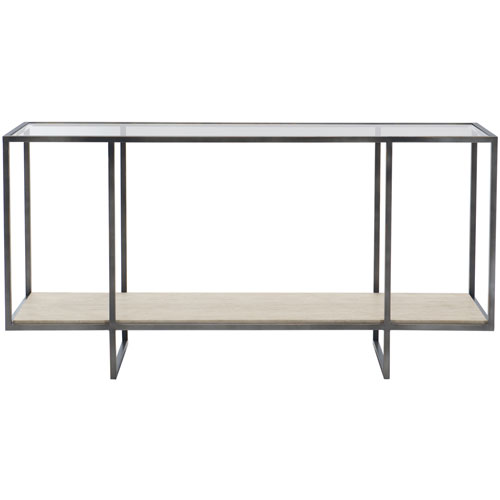 Freestanding Occasional Bronze, White Travertine Stone and Clear 60-Inch Console Table