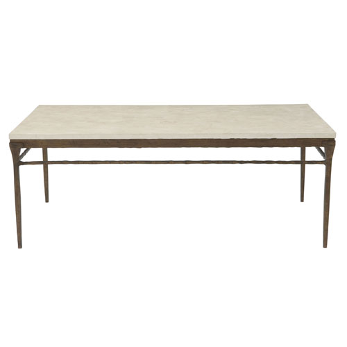 Freestanding Occasional Bronze and White Agate Stone 55-Inch Cocktail Table