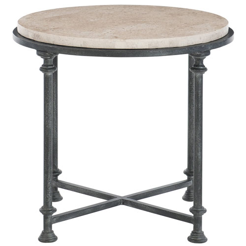 Freestanding Occasional Antique Silver and Travertine Stone 27-Inch End Table