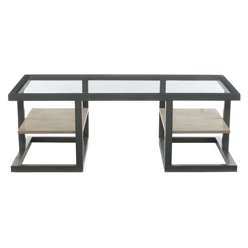 Freestanding Occasional Metallic Black, Natural and Clear 52-Inch Cocktail Table