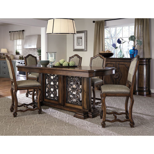 Montebella Auburn and Antique Bronze 86-Inch Dining Table